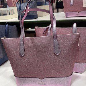 Kate Spade Lola Glitter Large Top Zip Tote Pink